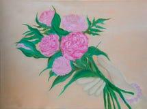 Retro stile delle rose rosa astratte che dipinge a mano illustrazione | Bei fiori romantici carta da parati e contesto Fotografia Stock Libera da Diritti
