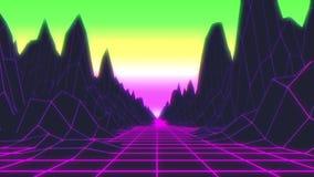 Retro stile futuristico degli anni 80 del metraggio del fondo del ciclo Paesaggio di Digital in un mondo cyber illustrazione di stock