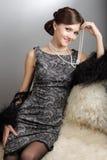 Retro stiliserad ung kvinna Royaltyfria Bilder