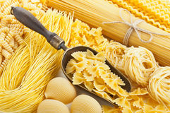 Retro still life with assortment of uncooked pasta Royalty Free Stock Photography