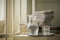 Retro still life with a carafe of water Stock Image