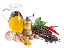 Retro still life with oil and spices  on w Royalty Free Stock Photos