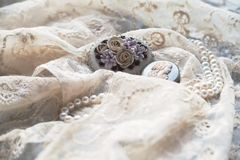 Pearl necklace and antique brooches on lace. Stock Image