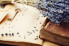 Retro still life with vintage books, key and lavender flowers, nostalgic composition. Royalty Free Stock Image