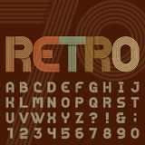 Retro stilsort för vektor för stilbandalfabet stock illustrationer