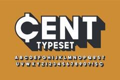 Retro stilsortsdesign för skärm 3d, alfabet, bokstäver Arkivfoto
