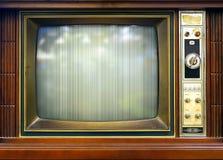 Retro stiltelevisionuppsättning med den dåliga bilden Fotografering för Bildbyråer