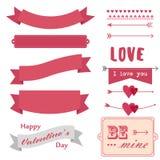 Retro stiluppsättning för älskvärda band inbunden vektor för valentin för daghjärtaillustration s två Arkivfoto