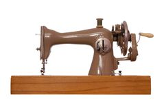 Retro stitching machine is isolated Royalty Free Stock Photos