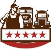 Retro stjärnor för drev för lastbil för maktpackningsarbetare stock illustrationer
