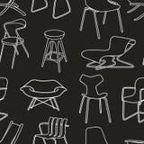 Retro stoelen naadloos patroon van meubilair op blac Royalty-vrije Stock Fotografie