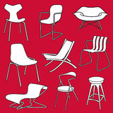 Retro stoelenmeubilair op rood Royalty-vrije Stock Afbeelding