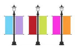Retro stolpe för tappninggatalampa med den Multicolour annonserande befordrings- modellflaggan framförande 3d stock illustrationer