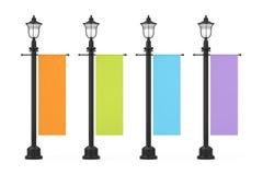 Retro stolpe för tappninggatalampa med den Multicolour annonserande befordrings- modellflaggan framförande 3d vektor illustrationer