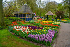 Retro stone well and tulips in Keukenhof park, Lisse, Holland, Netherlands Stock Image
