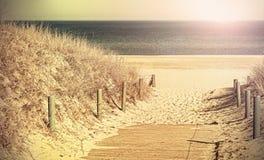 Retro stonowana fotografia plażowa ścieżka zdjęcia royalty free