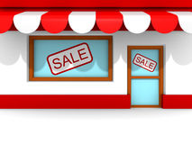 Retro Store Building With SALE Banners Stock Photos
