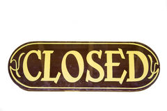 Retro storesign closed. On a wooden board - adobe RGB Stock Photos