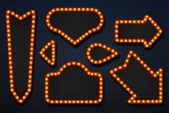 Retro stort festtältramar För piltappning för ljus kula skylt för kasino för cirkus för film för spegel för makeup Realistisk ram royaltyfri illustrationer