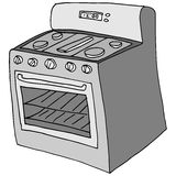 Retro stove drawing Stock Images