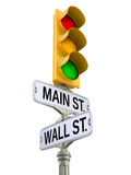 Retro straatteken met verkeerslicht Stock Afbeelding
