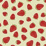 Retro strawberries on polka dots Stock Images