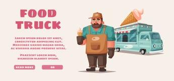 Retro street food van. Funny seller character. Cartoon vector illustration. Retro street food van. Funny seller character. Vintage food and drink truck. Cartoon vector illustration