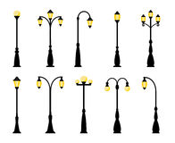 Retro street lamp lights. Vintage streetlights. Vector retro street lamp lights isolated on white background Stock Photography