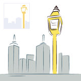 Retro street lantern and modern city skyline Stock Images