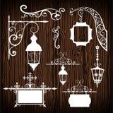 Retro street lanterns on wooden backdrop Royalty Free Stock Photos