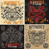 Retro street racing vector set. Royalty Free Stock Photo