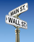 Retro street sign. With Wall street and Main street royalty free illustration
