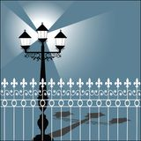 Retro StreetLamp with Fence Royalty Free Stock Photography