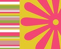 Retro- Streifen und Blumenhintergrund Stockfoto