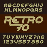Retro stripe alphabet vector font. Funky oblique type letters, numbers and symbols. Royalty Free Stock Image