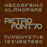 Retro stripe alphabet vector font. Funky type letters and numbers in 70`s style. Retro stripe alphabet font. Funky type letters and numbers in 70`s style royalty free illustration