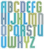 Retro stripe geometric font, retro style typeface made with stra Royalty Free Stock Image