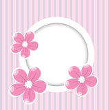 Retro striped background with frame for your text and flowers. Retro pink striped background with frame for your text and flowers Royalty Free Illustration