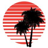 Retro striped sun and palm Stock Photography