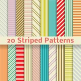 Retro striped vector seamless patterns (tiling). 20 Retro striped vector seamless patterns (tiling). Textures for wallpaper, fills, web page background, surface Stock Photo