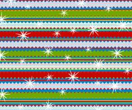 Retro Stripes Christmas Print. A background illustration featuring retro snowflakes falling in red and green with sawtooth stripes Stock Image