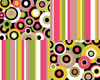 Retro stripes and circles collage. Retro pink, green and yellow stripes and circles background vector illustration