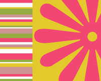 Retro stripes and floral background Stock Photo