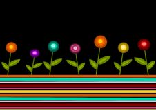 Retro stripes and flowers. Abstract illustration of retro flowers on the stripes stock illustration