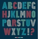 Retro stripes funky fonts set Stock Photos