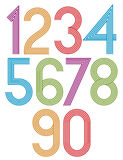 Retro stripes funky numbers set. Royalty Free Stock Photos