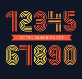 Retro stripes funky numbers set,trendy elegant retro style desig Stock Image