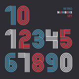 Retro stripes funky numbers set,trendy elegant retro style desig Royalty Free Stock Photos