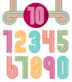 Retro stripes funky numbers set Royalty Free Stock Photos