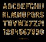 Retro stripes gold fonts set,trendy elegant retro style design. Royalty Free Stock Photography